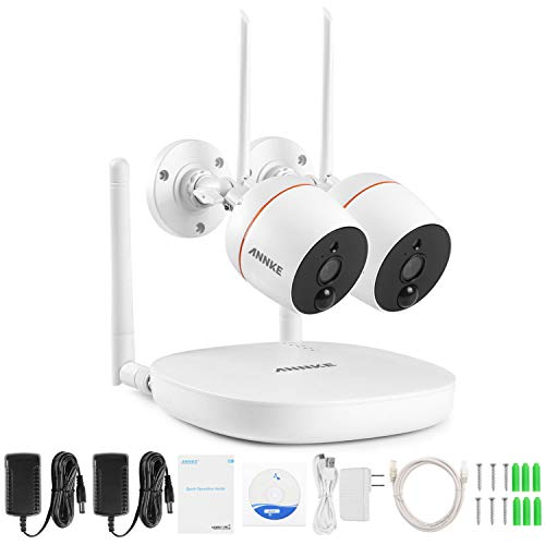 ANNKE Mini Kit sistema de vigilancia wifi 1080P FHD 4CH NVR con 2 * IP cámaras de seguridad 2MP Impermeable audio bidireccional, detección de movimiento PIR, soporte 128G tarjeta TF(no incluido)