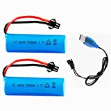 3.7V 1500mAh Li-ion Battery SM-2P Plug for RC Boat Electric RC Car RC Toys 2 Pack with USB Charger