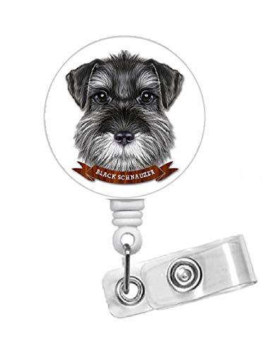 Black Schnauzer Retractable ID Badge Holder - RN Nurse Badge Clip - Dog Badge Reel - Nursing Badge - Teacher Badge Holder - Animal Badge Clip - Veterinarian ID - Vet Tech Badge (Alligator Swivel Clip)