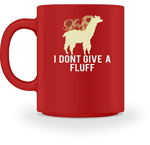 I Don't Give A Fluff - Taza, diseño con flores, rojo, M