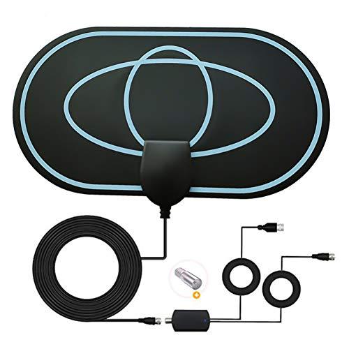 Rpanle Antena TV Interior, Antena TV portátil HD TV Digital 120 Millas con Amplificador de Señal Inteligente para Canales de TV Gratuitos Soporte 4K 1080 HD/VHF/UHF (HC08)