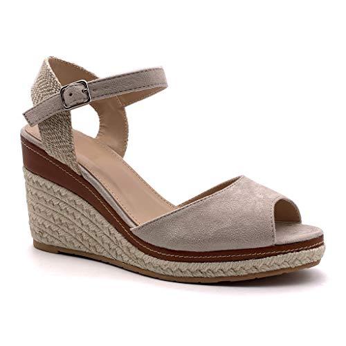 Angkorly - Chaussure Mode Sandale Espadrille lanière Cheville Plateforme Femme Corde tréssé lanière Talon compensé Plateforme 9 CM, Beige 2, 37 EU