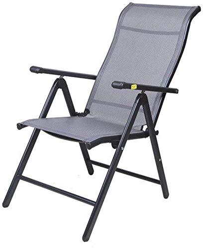 TUHFG Silla Tumbona Silla Plegable reclinable, jardín Playa Tumbona sillas reclinables a Prueba de Intemperie textoline Plegable Taburete (Color : Black (Iron Handrail), Size : 69 * 60 * 110cm)