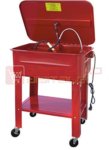 Notek Srl Vasca di Lavaggio per Attrezzi con Ruote - Lavapezzi da Officina lavaparti 75 L con Pompa 26 W - 20 Litri/Minuto. Vassoio e Cesto Rimovibile