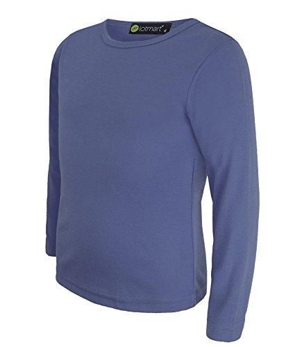 LOTMART LOTMART Kinder-T-Shirt, langärmlig, unifarben Gr. 5-6 Jahre, blau