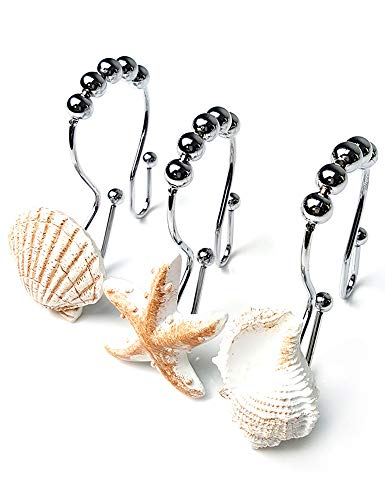 Ocean Decorative Shower Curtain Hooks Rust Proof,Stainless Steel Shower Curtain Rings with 5 Glide Rollers for Bathroom and Shower Set of 12-Hooks (Seashell, Starfish,Conch) (White)