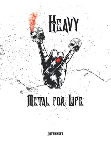 Heavy Metal for Life Notenheft: Vintage Notenbuch Klavier I Musik Schreibheft I Blanko Notenblock I Notenblätter leer mit 12 Notensysteme pro Seite in ... Musikheft mit Notenlinien A4 auf 120 Seiten