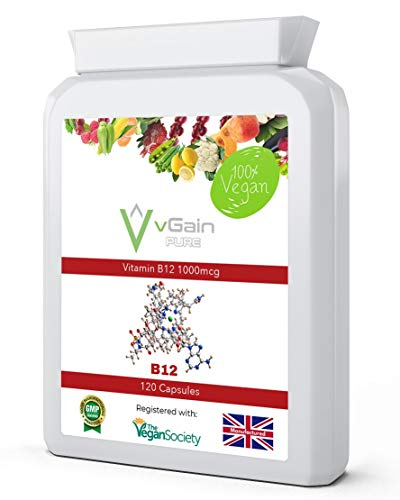 Vitamin B12 1000mcg - High Strength B12 Methylcobalamin by vGain PURE - Certified Vegan by The Vegan Society - Easily Absorbed & Contributes to The Reduction of Tiredness & Fatigue - for Men & Women