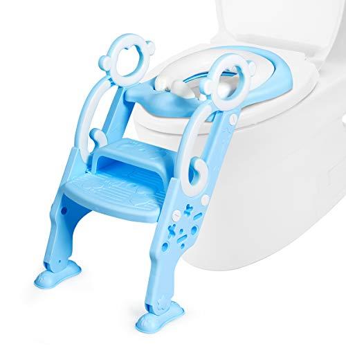 COSTWAY Kinder Toilettensitz höhenverstellbar, Toilettentrainer faltbar, Kindertoilette mit Leiter und Griffe, Töpfchentrainer zum Toilettentraining für Kleinkinder von 1 bis 8 Jahre (Blau)
