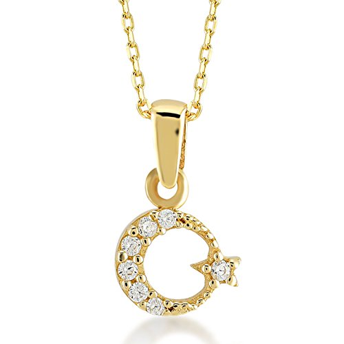 Gelin Damen Halskette 14 Karat / 585 Gelbgold Stern und Mond als Anhänger Kettenlänge 45cm