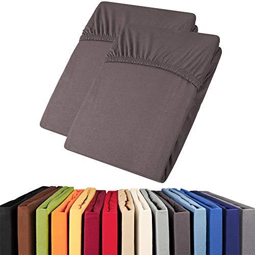 aqua-textil Viana Spannbettlaken Doppelpack 90x200-100x200 cm anthrazit Baumwolle Spannbetttuch Jersey Laken