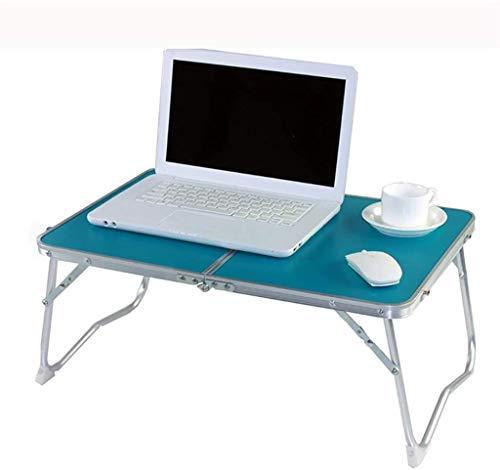 NYDZ Cama de la computadora del Escritorio del Sitio del Dormitorio Tablas portátiles Plegables mesas de Estudio Tabla Azul y Negro (tamaño Color, L * W * H, 61 * 41 * 28.5cm)