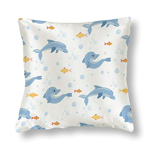 Satin Pillowcase The Flexible Dolphins Pillowcases, Pillowcase for Hair and Skin, Pillows for Sleeping, Throw Pillow Covers, Cushion, Best Gift for Mom, Women.