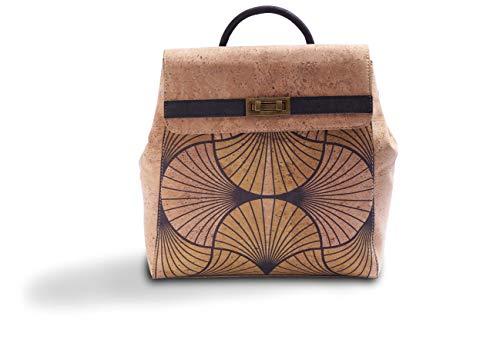 Rucksackhandtasche aus Kork Damen Rucksack Handtasche aus Korkleder 2 in 1 Kork Tasche Rucksack (Yellow)