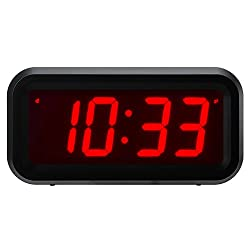 Timegyro Small Wall /Shelf /Desk Digital Clock Only Battery Operated with 1.2 Large Display. 4pcs Batteries Can Keep The Time Display Day and Night for More Than One Year (Black)