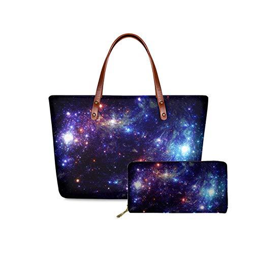 Qingeng Women Girl Galaxy Fashion Neoprene Lightweight Satchel Handbag with Pu Leather Wallet for Outdoor Travel Shopping