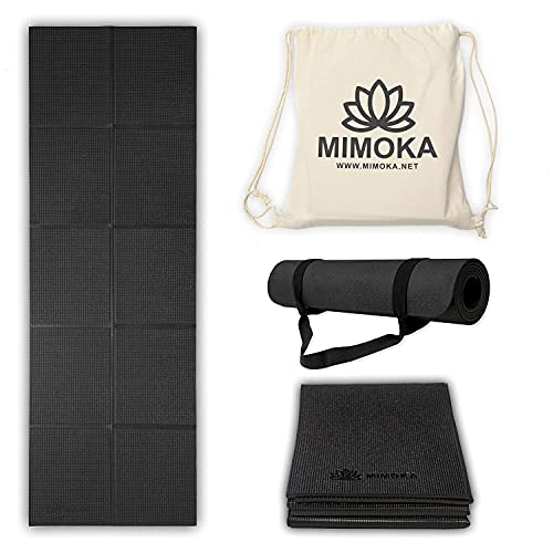 Mimoka - Esterilla Yoga Antideslizante Gruesa Plegable 8 mm de 183 x 61 cm - Yoga Mat - Pilates - Ideal para Abdominales en casa - Colchoneta Fitness