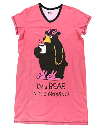 Lazy One V-Neck Nightshirts for Women, Animal Designs (Bear in The Morning, S/M)