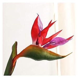 JSJJAED Artificial Flowers End Artificial Flower 80cm Single Branch Paradise Bird Plastic Simulation Fake Flower Home Garden Wedding Decoration (Farbe : Rot)
