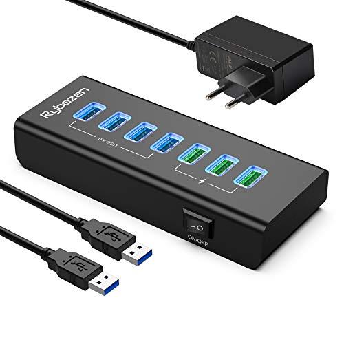 USB 3.0 Hub 7 Puertos ,con 4 puertos de datos de súper velocidad USB 3.0 y 3 puertos de carga inteligente USB,divisor USB con LED,interruptor de encendido/apagado y adaptador de corriente para teclado