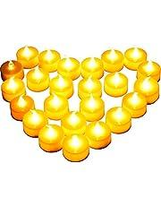 [Nieuwe Stijl] 24 Stuks LED-Kaarsen, Diyife LED Kaarslampjes, Vlamloze Theelichten, Realistische Flikkerende Lamp, voor Kerstmis, Kerstboom, Pasen, Bruiloft, Feest [Inclusief Batterijen]