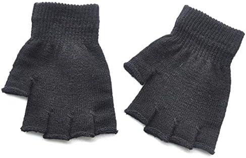New Children's Winter Gloves Cold Warm Acrylic Fingerless Gloves - (Color: Black)