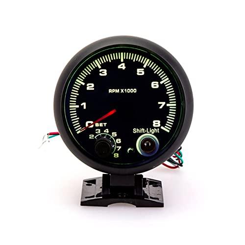 PINGYAYANG Tacómetro de 95 mm Carreras de Coches Tacho Universal 0-8000 RPM Medidor de Calibre con Interruptor de Cambio 7 Color May Shift Light Tacometro (Color : Zwart)