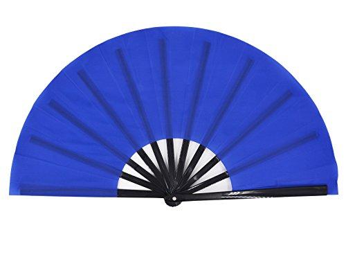 Amajiji Large Folding Fan, Chinease/Japanese Folding Silk Hand Fan, Women Hand Folding Fans Hand Fan Gift Fan Craft Fan Folding Fan Dance Fan (Blue)