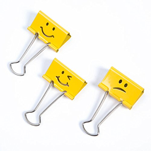 Rapesco 1 1/4 inch (32mm) Emoji Binder Clips - 2 Pack for 40 Clips Total (Bright Yellow)