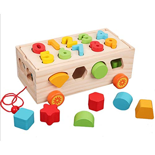 Lalia Nachzieh Holzspielzeug, Kubus mit Zahlen Motorik Spielzeug, Nachziehtier bunt, aus Holz, Geschenk für Kinder Motorik Spielzeug, bunt Holz Uhr Spielzeug 2+ Kinder Kleinkinder (Kubus)