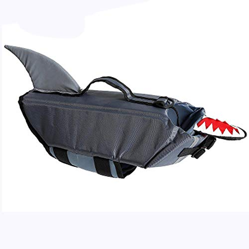 Gulunmun Pet Dog Save Chaleco Salvavidas Chaleco Shark Duck Disfraces para Perros Ropa Espuma Profesional Verano Traje de baño-Gris XL