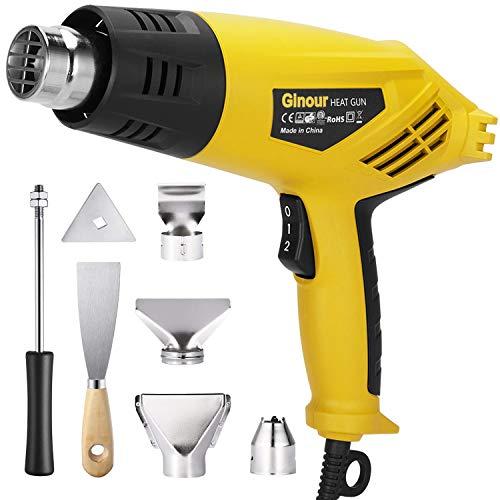 Heat Gun, ginour Hot Air Gun 2000W 230V,4 Nozzles with Scraper, Integrated Support Stable, Ergonomic, Remove Paint, Varnish, Dissolve Adhesives