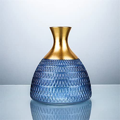 RZHIXR Golden Platinum Frame Glass Vase, Texture Stained Glass Vase, Office Dining Table And Bedroom Decoration Vase, Housewarming Gift