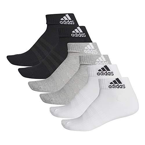 adidas Cush ANK 6PP Calcetines, Unisex Adulto, brgrin/Brgrin/Blanco/Blanco, M
