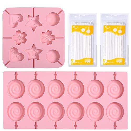 Etern 2 Stück Lollipop Schokolade Silikonform, mit 40 Lollypop Sticks, Wiederverwendbare Silikon Formen, für Herstellung von Pralinen, Keksen, Lutschern(Pink)