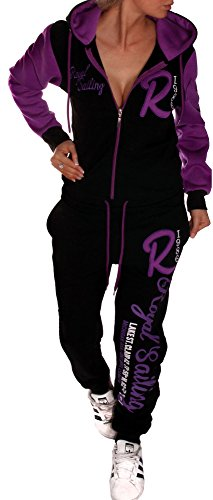 Jaylvis Damen Jogginganzug Trainingsanzug Fitnessanzug Hose und Oberteil Schlafanzug Royal Sailing A.2255 (Schwarz-Lila, M