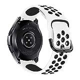 iBazal 22mm Correa Galaxy Watch 46mm Pulsera de Repuesto para Samsung Galaxy Watch 3 45mm/Gear S3 Frontier Classic, Huawei Watch GT/GT 2 46 mm, Ticwatch Pro/E2/C2 Banda de Silicona - Blanco/Negro