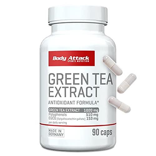 Body Attack-Green Tee Extract, hochdosierte Grün Tee Extrakt Kapseln, 1020mg Grün Tee Extrakt 510mg Polyphenols 153mg EGCG pro Tagesportion, für alle Sportler & Athleten-Made in Germany-90 Kapseln