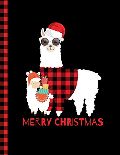 Merry Christmas Notebook: College Ruled Notebook Christmas Red Plaid Buffalo Llama Wearing Santa Hat And Glasses snowflakes Gifts Design - Size (8.5 x ... Book 110 Pages - College Ruled paper