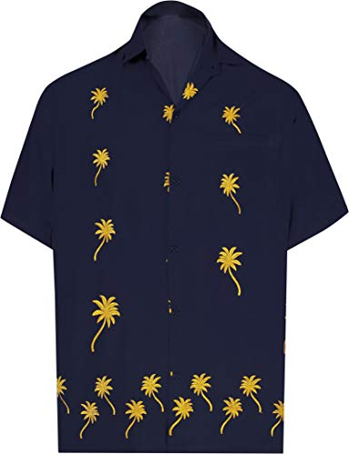 LA LEELA Men's Relaxed Hawaiian Shirt Beach Aloha Swim Shirt for Men L Navy_W838