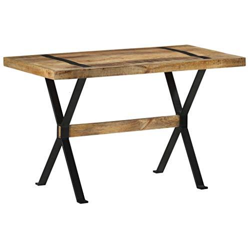 vidaXL Rough Mango Wood Dining Table Industrial Home Interior Furniture Restaurant Kitchen Dining Room Side Table Wooden Dinner Desk 120 cm