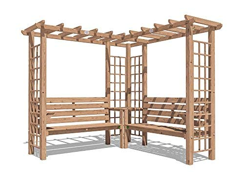 Dunster House Wooden Pergola Arbour Garden Arch Corner Bench Trellis Seating with Armrests and Mini Corner Table - Gerlinde