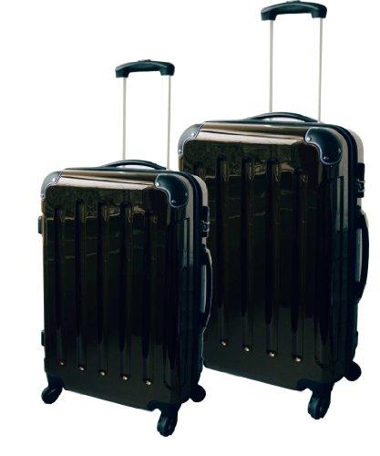 2-tlg. Hartschalen-Kofferset aus Polycarbonat SCHWARZ L + M