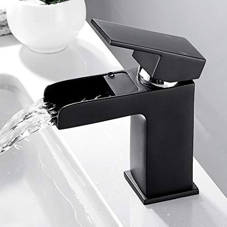 ROKTONG Schwarz Bad Becken Wasserhahn Wasserfall Hohlform Bad Wasserhhne Einzigen Handgriff Wasser Mischbatterie Waschbecken Wasserhahn