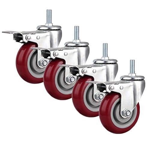 LBBZJM Moving Caster Wheels Heavy Duty Swivel Wheels for Furniture Trolley Wheels M12 Bolt Rubber Swivel Casters (4 Pieces) Furniture Casters Load 300kg, Heavy Duty Casters With Brakes, 3/4/5in