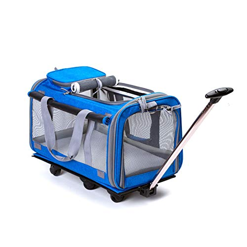 REW Dog Stroller 4 Wheels Foldable Pet Trolley Carrier Mesh Windows for Dogs and Cats Traveling