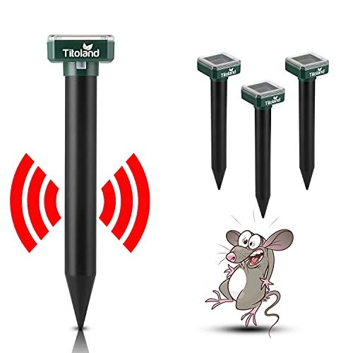 Titoland Mole Repellent, 4 Pack Ultrasonic & Solar Powered Snake Repellent, Sonic mole Repeller Solar Groundhog Chipmunk Rodent Vole Spikes Chaser Squirrel Rat Control for Lawn Garden Yard & Outdoor