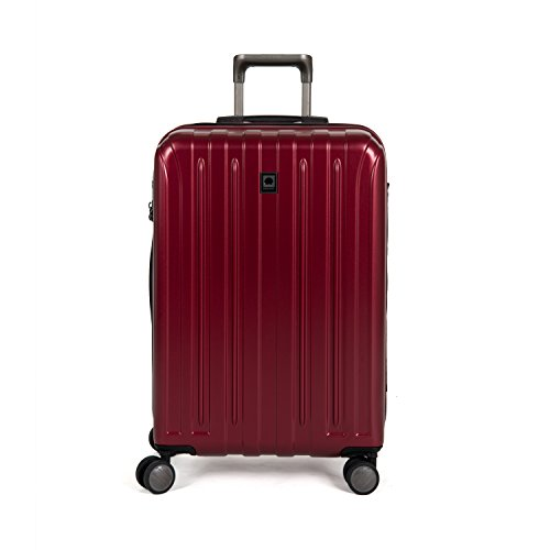 DELSEY Paris Titanium Hardside Expandable Luggage with Spinner Wheels, Black Cherry Red, Checked-Medium 25 Inch