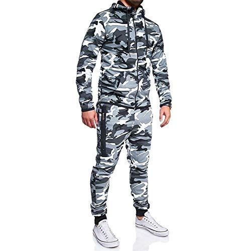 Riou Tuta Sportiva Mimetica Sportiva Casual Uomo Vestiti con Cappuccio Zip Giacca a Maniche Lunghe e Pantaloni Tuta Sportiva Autunno Inverno Sportivo per Jogger