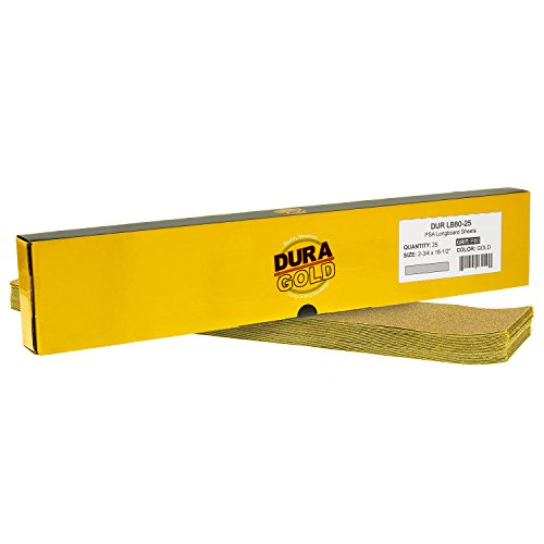 Dura-Gold - Premium - 80 Grit Gold - Pre-Cut Longboard Sheets 2-3/4' Wide by 16-1/2' Long - PSA Self Adhesive Stickyback Longboard Sandpaper - Box of 25 Sandpaper Finishing Sheets